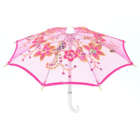 Floral Pattern Sequins Accent Mini Parasol Umbrella Craft Detail Fuchsia
