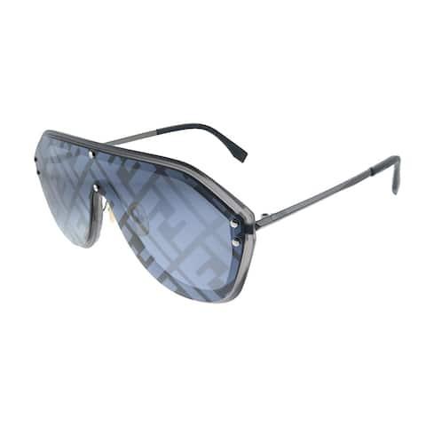 Fendi FF M0039/G V81 Unisex Dark Ruthenium Frame Grey Fendi Print Mirror Lens Sunglasses