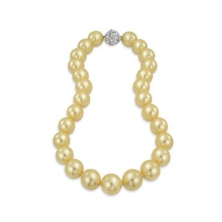 Bling Jewelry Rhodium Plated Imitation Champgne Pearl Bridal Necklace
