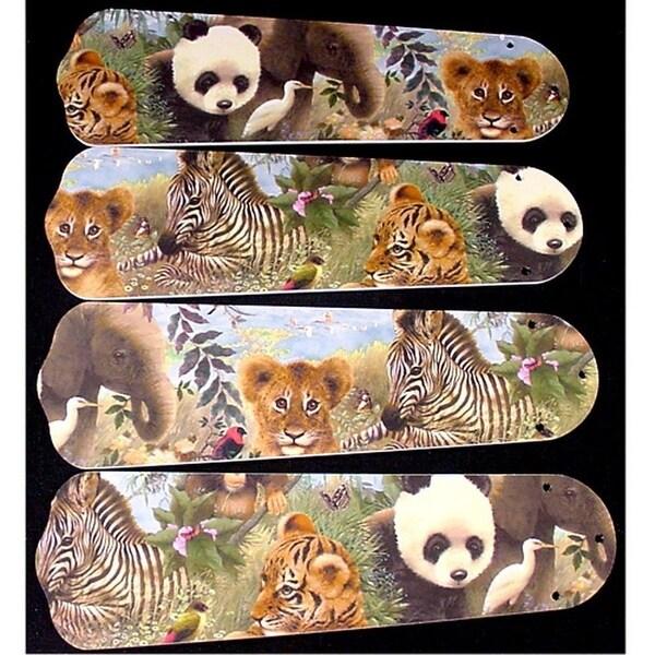 Baby Safari Animals Custom Designer 42in Ceiling Fan Blades Set - Multi