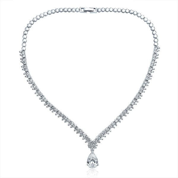 AMDXD Jewelry Silver Plated Women Necklace White Gold Square Cubic Ziconia,as Best Gift for Girl