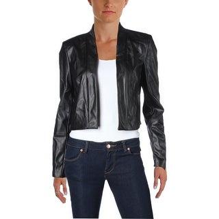 Calvin Klein Womens Shrug Faux Leather Open Front