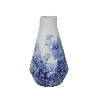 Ceramic Beaker Vase with Bubble Pattern, White and Blue