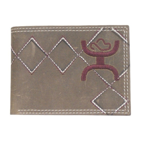 HOOey Western Wallet Mens Bifold Logo License Dark Brown - 4 x 3/4 x 3
