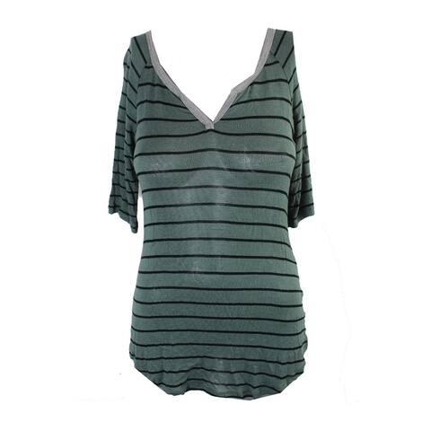 Ultra Flirt Juniors Olive Black Striped Split-Neck T-Shirt S