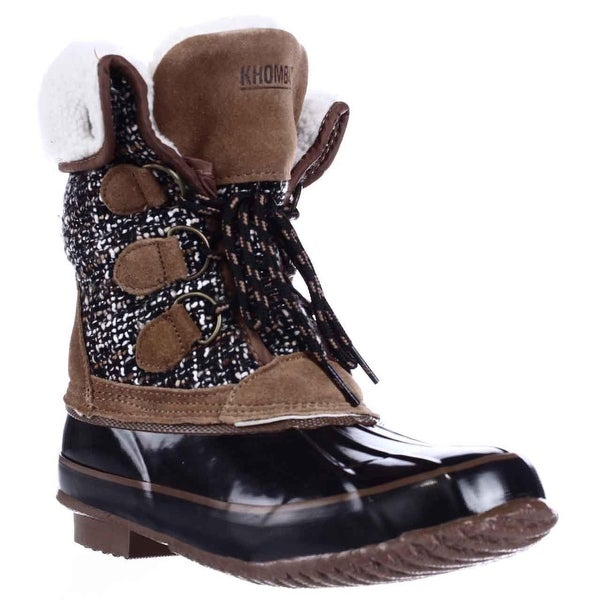 Khombu Jenna Fleece Lined Mid Calf Winter Boots, Black/Tan