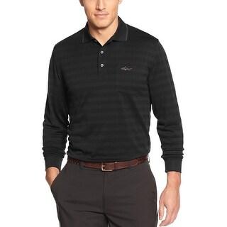 Greg Norman Textured Striped Long Sleeve Golf Polo Shirt Deep Black