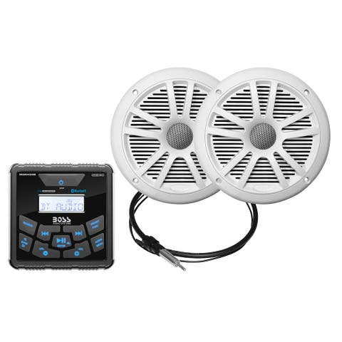 "Boss Audio MCKGB450W.6 Marine Package - Bluetooth In-Dash Marine Gauge Digital Media AM/FM Receiver w/6.5"" Speakers - White"