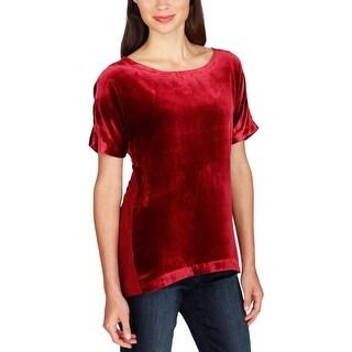 Lucky Brand Womens T-Shirt Velvet Zip-Up Back