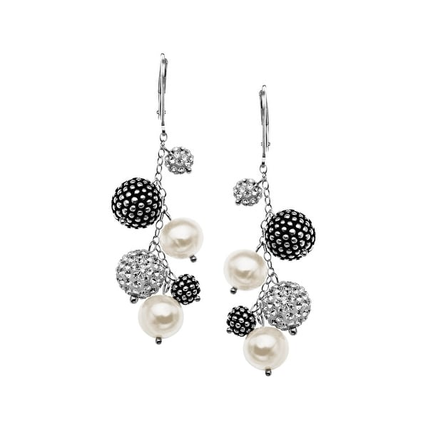 Aya Azrielant Freshwater Pearl Drop Earrings with Swarovski Crystals and Black Beads in Sterling Silver