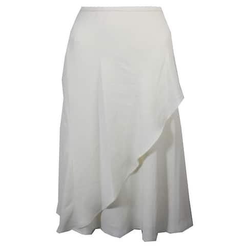 Lauren Ralph Lauren Ivory Draped Overlay Crepe A-Line Skirt 4