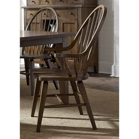 The Gray Barn Wisteria Traditional Rustic Oak Windsor Arm Chair