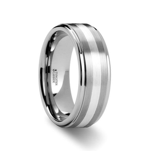 Praetor Silver Inlaid Raised Satin Finish Tungsten Ring
