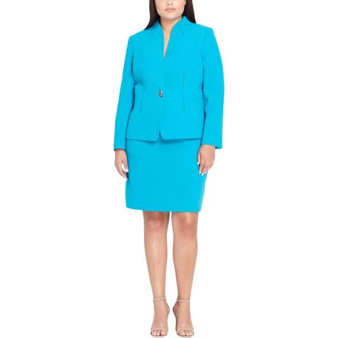 Tahari ASL Womens Plus Skirt Suit One Button Work Wear