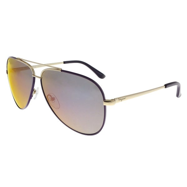 Salvatore Ferragamo SF131S 736 Shiny Gold W/ Purple Aviator Sunglasses- small fit - 60-10-135
