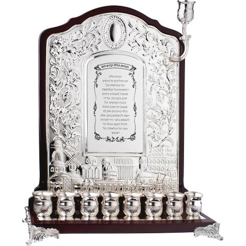 """Wall Menorah Wood & Silver Plated 14X9.5 """" - Pictured"""