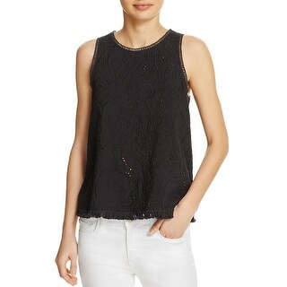 Generation Love Womens Tank Top Fringe Cut-Out - xs