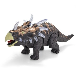 Battery Powered Walking Dinosaur Triceratops Toy Figure w/ Many Lights and Sounds Real Movement Grey