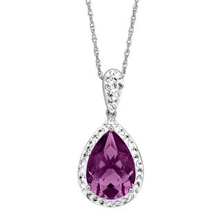 Crystaluxe Pear-Shape Pendant with Purple Swarovski Crystals in Sterling Silver