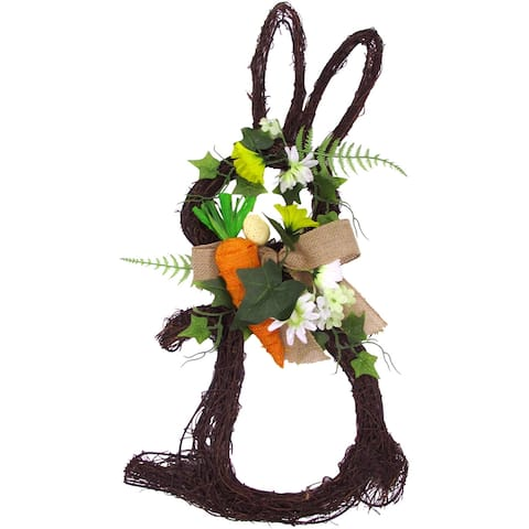 "Fraser Hill Farm 18"" Twig Bunny Wreath Door Hanging w/Tulips & Carrot"