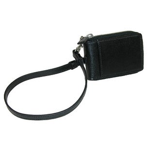 Royce Leather Leather RFID Blocking Zip-Around Key Case with Wrist Strap - Black - One Size