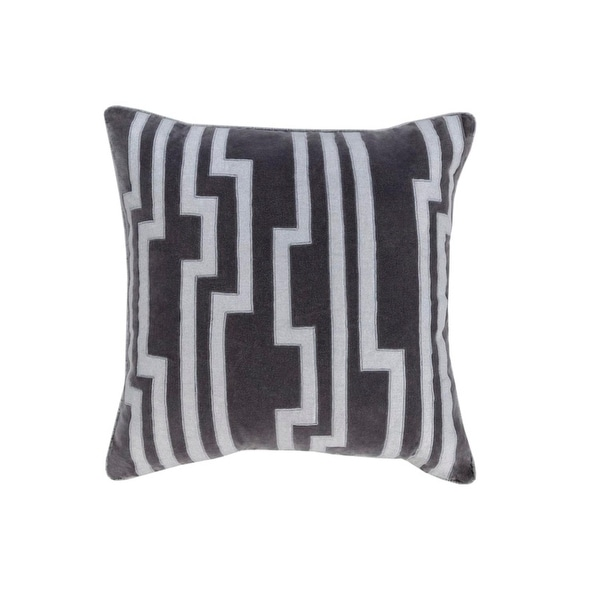 "18"" Smokey Black and Silver Gray Charming Key Patterned Decorative Throw Pillow-Down Filler"
