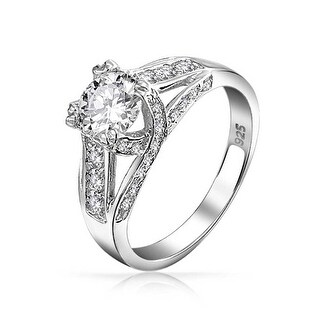 Bling Jewelry .925 Silver Criss Cross Round Solitaire CZ Engagement Ring