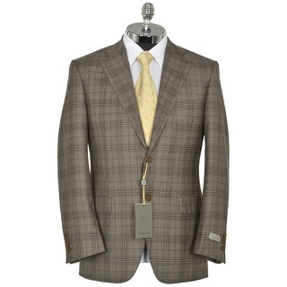Canali Wool and Cashmere Tan Plaid Sportcoat 38 Regular 38R Made In Italy