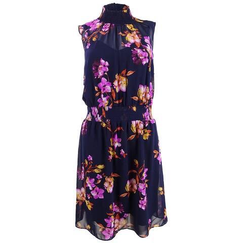 Bar III Women's Floral Printed Mock-Neck Mini Dress (M, Aurora Floral)