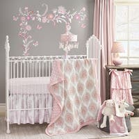 Lambs & Ivy Happi by Dena™ Charlotte Pink/White Paisley Leaf Print Nursery 5-Piece Baby Crib Bedding Set