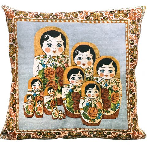 STP Goods Decorative Semenovskaya Nesting Doll Tapestry Throw Pillow
