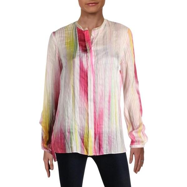 00f11d484b42 Shop Elie Tahari Womens Carly Button-Down Top Linen Silk Blend ...