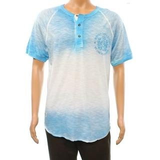 Buffalo David Bitton NEW Blue Surf Mens Size Large L Henley Shirt