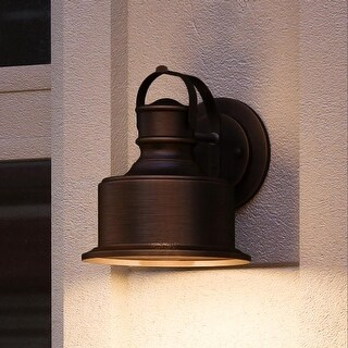 """Luxury Industrial Chic Outdoor Wall Light, 11.5""""H x 11""""W, with Modern Farmhouse Style, Olde Bronze Finish by Urban Ambiance"""