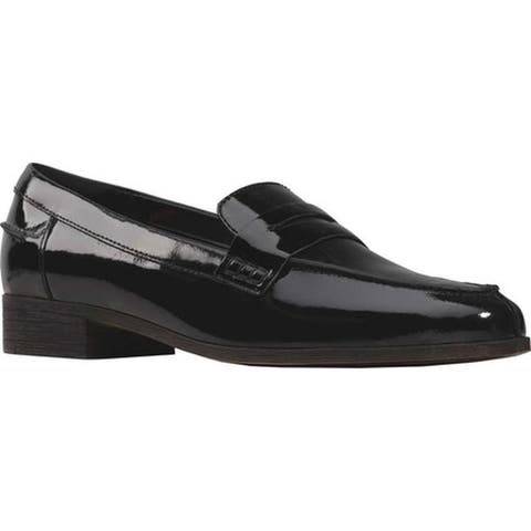 Clarks Women's Hamble Penny Loafer Black Patent Leather