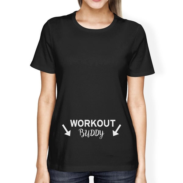 Workout Buddy Women's T-shirt Graphic Printed Tee For Pregnant Lady