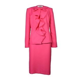 Le Suit Women's Rose Garden Layered Lapel Skirt Suit - 8