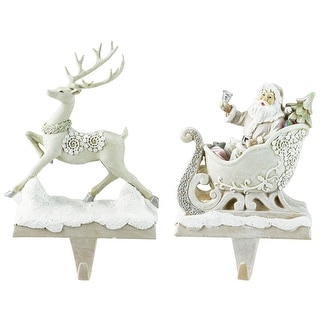 Set of 2 Santa and Reindeer Neutral Glittered Decorative Stocking Holders 9.5