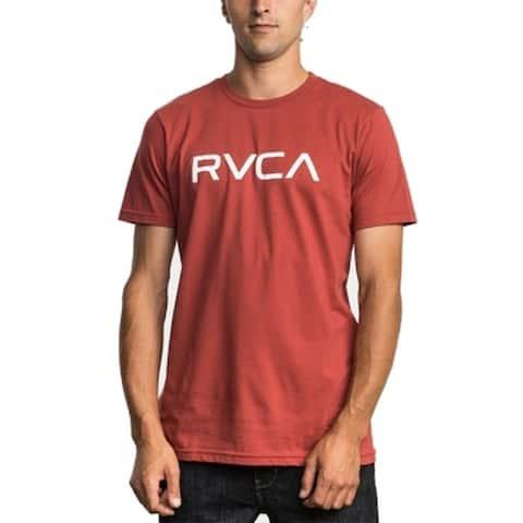 RVCA Mens T-Shirts Red Size Medium M Graphic-Print Logo Crewneck Tee 080