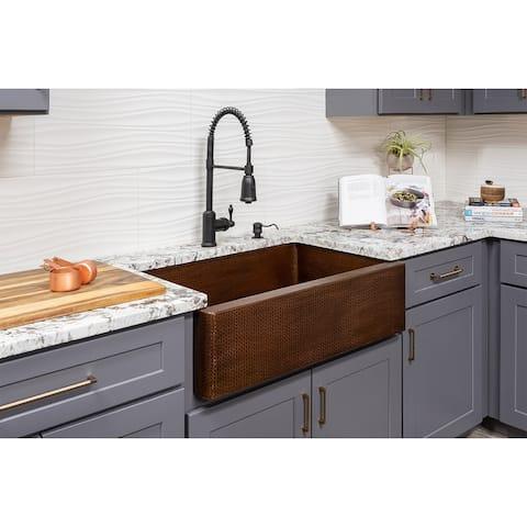Premier Copper Products KASB33229 33-inch Hammered Antique Copper Apron Front Single Basin Kitchen Sink