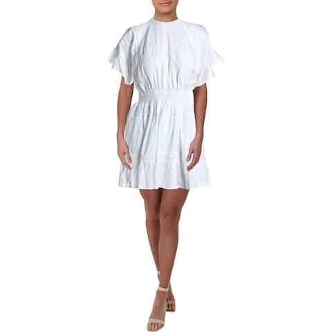 Aqua Womens Mini Dress Lace Smocked - White