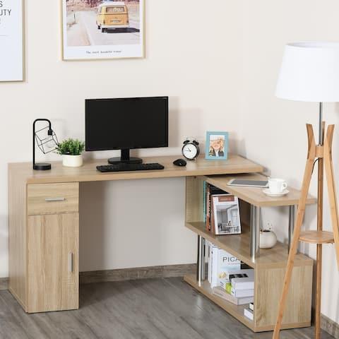 HOMCOM L-Shaped Computer Desk Workstation with Storage Shelves, Cabinet and Drawer for Home & Office
