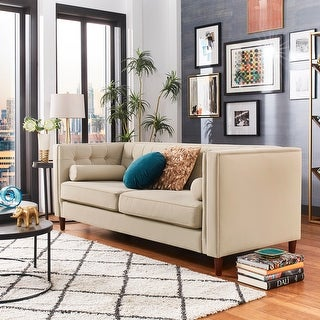 Beverly Tuxedo Fabric Sofa with Accent Pillows by iNSPIRE Q Bold