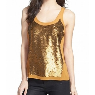 Trouve NEW Gold Sequin Panel Chiffon Women's Size XS Tank Cami Top