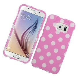 Insten Pink/ White Polka Dots Hard Snap-on Rubberized Matte Case Cover For Samsung Galaxy S6