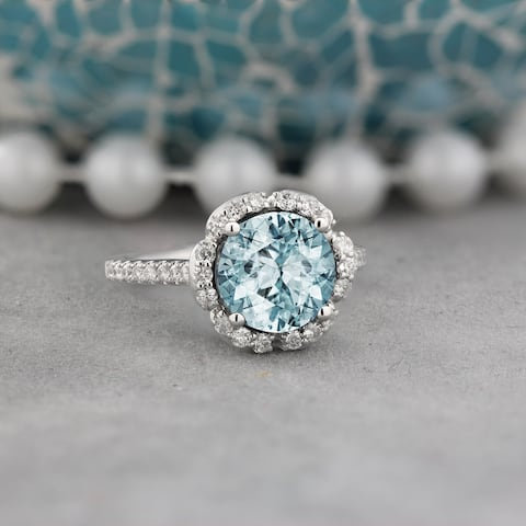 Auriya Vintage 1 7/8ct Fancy Aquamarine and Halo Diamond Engagement Ring 3/8ct Fancy 14k Gold