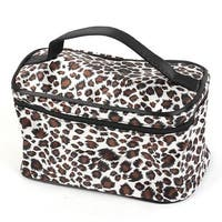 Unique Bargains Leopard Print Mirror Pockets Polyester Makeup Cosmetic Bag for Lady