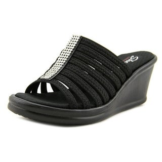 Skechers Rumblers Hot Shot Women Open Toe Synthetic Black Wedge Sandal