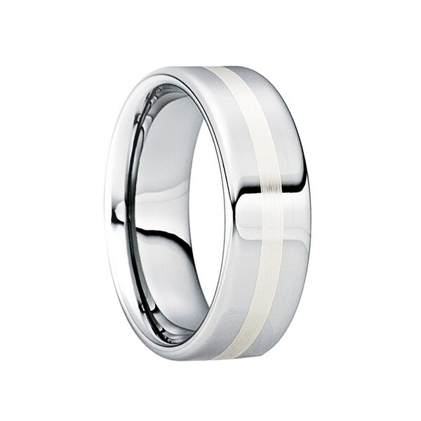CASSIAN Tungsten Carbide Wedding Ring with 18K White Gold Inlay & Polished Finish by Crown Ring - 8mm