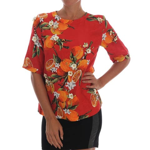 Dolce & Gabbana Orange Print Crystal-Embellished Women's Blouse
